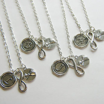 4 Best Friends Necklaces, Initial, BFF Infinity And Pinky Promise Necklace, 4 BFF Necklaces, Four Best Friends, 4 Best Friends Jewery