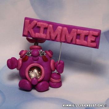 Polymer Clay Robot Cake Topper Girl Personalized Name - Miniature Whimsical Character Sculpture - BubbleBellyBotBaby