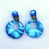 Blue Hoop Earrings ~ Vintage Lucite Moonglow Dangle Clip Ons ~ Signed Japan