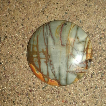 Picasso Jasper round focal bead, polished and drilled, DIY jewelry pendant supply stones, just under 2 inches, blue grey with other colors