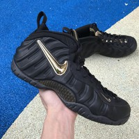 "Air Foamposite Pro ""Black / Metallic Gold"" Basketball Sneaker US8-13"