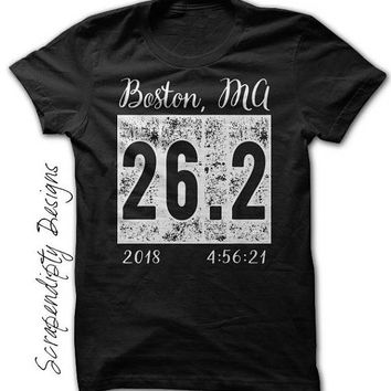 Womens Marathon Shirt, Mens Running Shirt, Marathon 26.2 Tshirt, Custom Marathon Tshirt, Team Running Shirts, With Date and Time, Souvenir