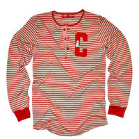 Sydney Sweatshirt Henley (Red/Cream)