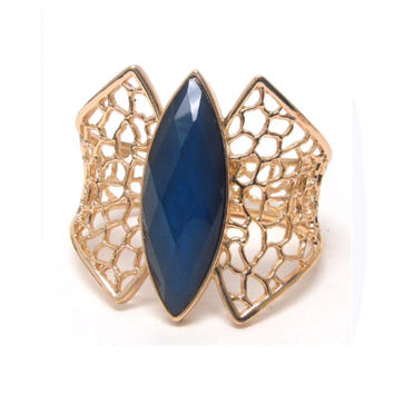 Oversized Thick Metal Hinge Gold with Midnight Blue Bangle Bracelet