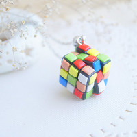 Hipster girl gift for girlfriend Rubiks cube necklace for her Rainbow jewelry graduation gift for him geek gift for teacher gift MAKEtoORDER