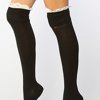 K.Bell Knee Socks Enchanted Lace Black- Karmaloop
