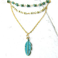 Layered Feather Necklace - Verdigris Patina Feather - Beaded Necklace - Feather Charm - Deep Neckline - ZEN Collection