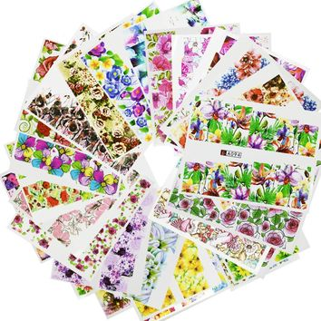 2017 NEW 48Sheets Colorful Mixed Nail Art Decals Flower Water Transfer Nail Stickers Full Cover Wrap Manicure Tool LAA049-096