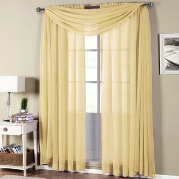 Abri Soft Gold Rod Pocket Crushed Sheer Curtain Panel
