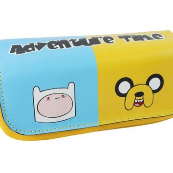 Adventure Time Leather Cosmetic Bag Kawaii Cartoon Large Capacity Double Zipper Pencil Case Boy Girl Student Stationery Pen Bags
