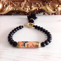 Frida kahlo bracelet, black frida bracelet, tassel, tassle, black and gold, stone bracelet
