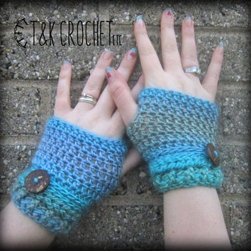 Crochet Fingerless Gloves, Wrist Warmers, Blue & Green Fingerless Mittens, Steampunk Fingerless Mitts