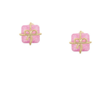 Pretty Present Earrings - Pink  stud earrings featuring a sparkling ice cubic zirconia stone wrapped in a gold plated ribbon and bow