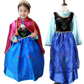 New Children Cartoon Costume For Kids Snow Queen Dress Anna Elsa Dresses Elsa Clothing Girls Brand Baby Girl Clothes Kids Tutu