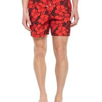 Moorea Floral-Print Swim Trunks,