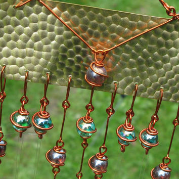 Windchime with Recycled Brass & Aluminum and Copper Wrapped Iridescent Amethyst and Teal Glass Marbles