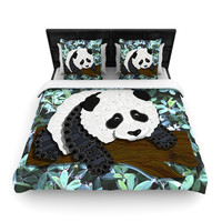 "Art Love Passion ""Panda"" Black White Woven Duvet Cover"