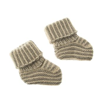 Striped Knit Alpaca Baby Booties