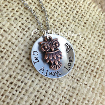 owl always love you necklace handstamped 1 inch by CMKreations