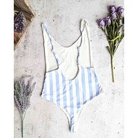 seamless high cut vintage thong swimsuit - beach sky stripes