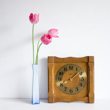 Wooden Wall Clock, German Wall Clock, Living Room Decor, Blessing German Quartz Wall Clock, flowers tulips pink, mothers day