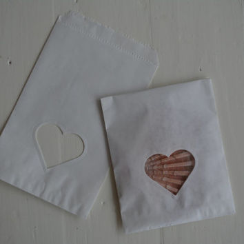 Small Off white paper bag with a heart window set of 20 bags complete with cellophane bag---Party favor, birthday party or wedding favor