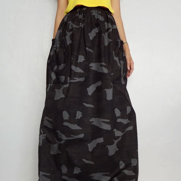 Women Long Skirt,Comfortable Unique, CAMO Print Cotton Lightweight (Skirt-C1).
