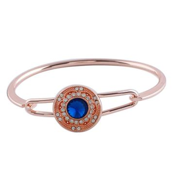 "Snap Charm Rose Gold Plated Hinged Bangle Bracelet Includes Standard 20mm 3/4"" Diameter Shown Fits Ginger Snaps"