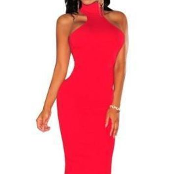 Red Halter Party Dress