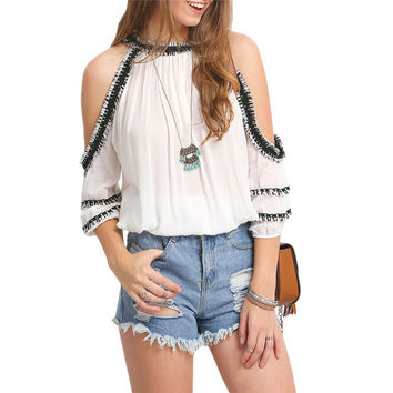 Fringed Cold Shoulder T-Shirt 9683