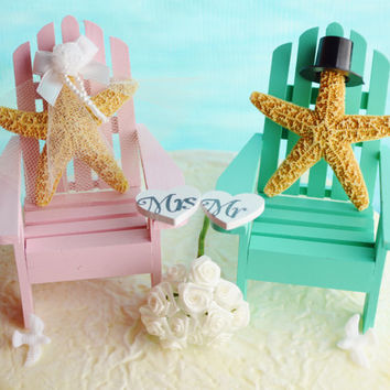 Wedding Cake Topper ~ Pink and Sea Green Miniature Adirondack Chairs ~ Sugar Starfish Bride and Groom ~ Beach Wedding Decor ~ Cake Topper