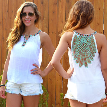 Autumn Style Hollow Out Sleeveless Sexy Backless Vest Casual Lace Tops T-shirts [8096400135]