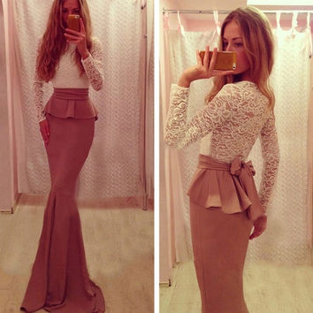 Women's Sexy Bodycon Bandage Long Sleeve Slim Lace Cocktail Party Clubwear Dress Full Length Fishtail A_L SV011155 = 1658515780