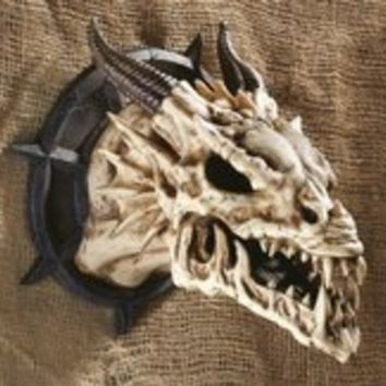 Gothic Art | Horned Dragon Skull Wall Trophy