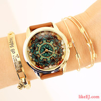 Brown Lace Print Watch