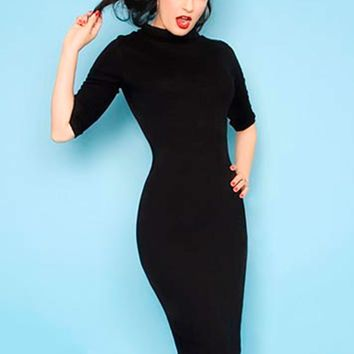 Super Spy Dress in Black Stretch Jersey