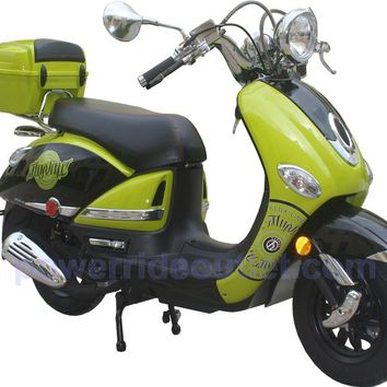 PRO EX150 150cc 4 Stroke Vespa style Gas Scooter with Aluminum Wheels, wide bar setup, Fully Assembled Package (Free Rear Trunk)