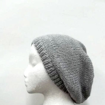 Knitted gray slouch beanie hat, oversized beanie  4948