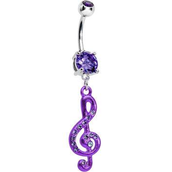 Tantalize Gem Treble Clef Drop Belly Ring