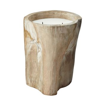 White Pepper Log Candle - Large Tan