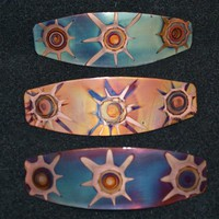 Copper hair barrette, yellow, blue oxidized jewelry