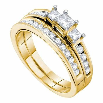 14kt Yellow Gold Women's Princess Diamond 3-stone Bridal Wedding Engagement Ring Band Set 1.00 Cttw - FREE Shipping (US/CAN)