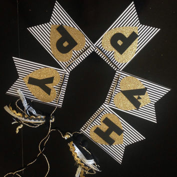 Black and white striped gold heart happy birthday banner- tassel decoration