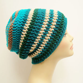FREE SHIPPING - Men's or Unisex Crochet DC Slouchy Beanie - Teal, Tan, Turquoise, Blue, Cream, Dark Forest Green #slouchy #slouchyhat #hat