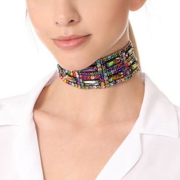 Colorful Multilayer Paved Rhinestone Choker Necklace