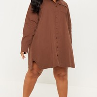 Plus Chocolate Brown Oversized Denim Shirt Dress