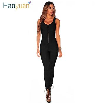 HAOYUAN Sexy Zip Up Bodycon Jumpsuits Full Bodysuit Sleeveless Deep-V Backless Slim Stretch Overalls Rompers Womens Jumpsuit
