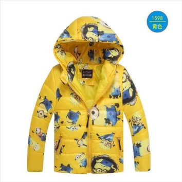 Minion Jacket Kids Down Jacket For Boy Baby Minion Clothes Winter Down Coat Warm Baby Snowsuit Children Girl Hooded Short Coat