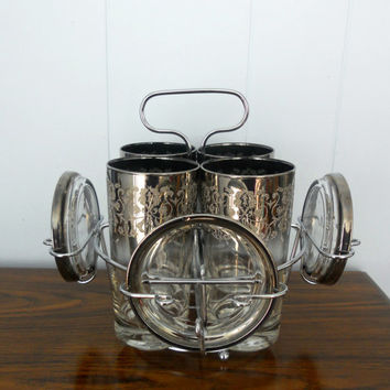 Vintage Silver Glasses with Coasters and Caddy by houseofheirlooms