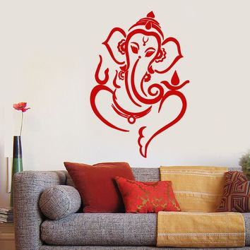 Vinyl Wall Decal Ganesha Elephant God Hindu Hinduism Stickers (2368ig)
